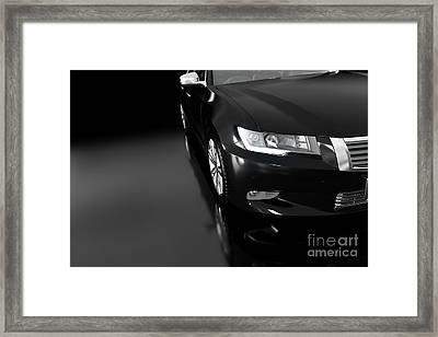 Modern Black Metallic Sedan Car In Spotlight. Generic Desing, Brandless. Framed Print by Michal Bednarek