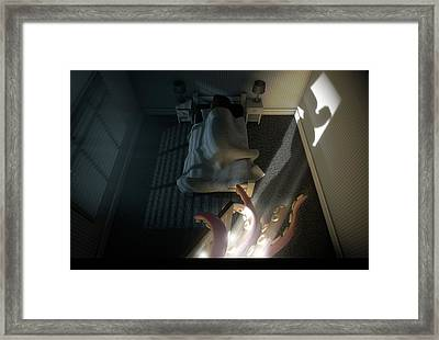 Monster Behind The Door Framed Print by Allan Swart
