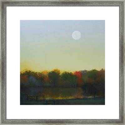 Moonrise-footbridge At White Rock Framed Print