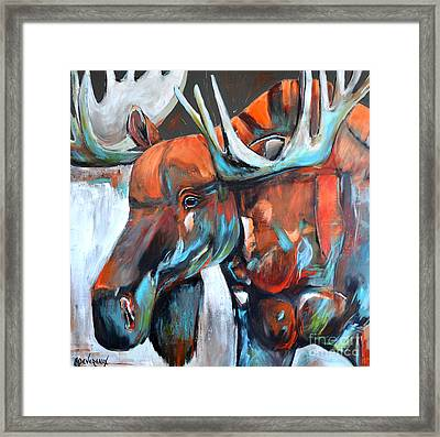 Framed Print featuring the painting Moose by Cher Devereaux
