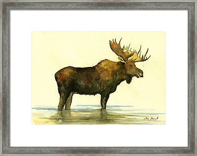 Moose Watercolor Painting. Framed Print by Juan  Bosco