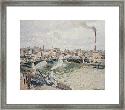 Morning, An Overcast Day, Rouen Framed Print by Camille Pissarro