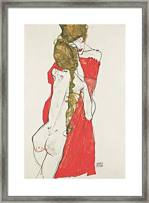 Mother And Daughter Framed Print by Egon Schiele