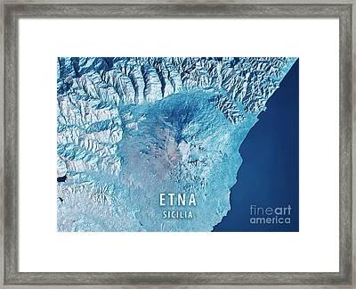 Mount Etna 3d Render Satellite View Topographic Map Blue Framed Print