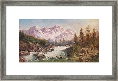 Mountain Landscape With A River Framed Print by MotionAge Designs
