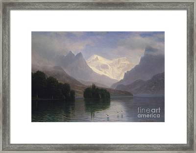 Mountain Scene Framed Print by Albert Bierstadt