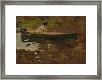Mrs. Chase In Prospect Park Framed Print by William Merritt Chase