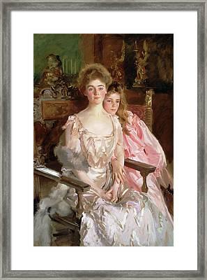 Mrs. Fiske Warren And Her Daughter Rachel Framed Print by John Singer Sargent