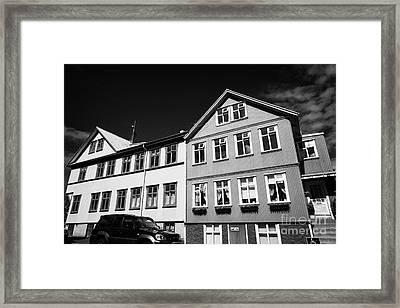 Multi Storey Brightly Painted Corrugated Iron Clad Buildings Reykjavik Iceland Framed Print