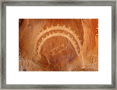 Native American Petroglyph On Sandstone Framed Print by John Stephens