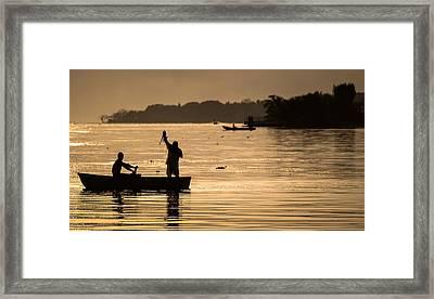 Net Fishing At Sunset Framed Print by Dane Strom