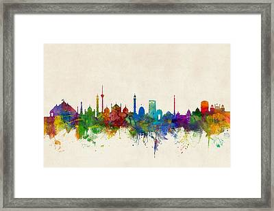 New Delhi India Skyline Framed Print
