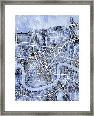New Orleans Street Map Framed Print by Michael Tompsett