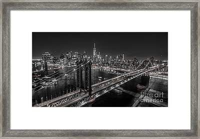 Framed Print featuring the photograph New York City, Manhattan Bridge At Night by Petr Hejl