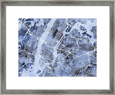 New York City Street Map Framed Print by Michael Tompsett