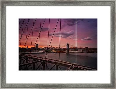 New York City - Sunset Framed Print by Vivienne Gucwa