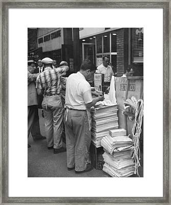 New York Newspaper Stand Framed Print by Underwood Archives