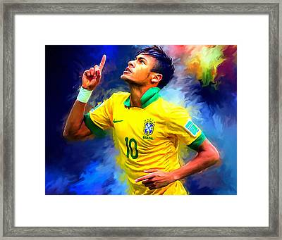 Neymar Football Soccer Landscape Art Painting Framed Print