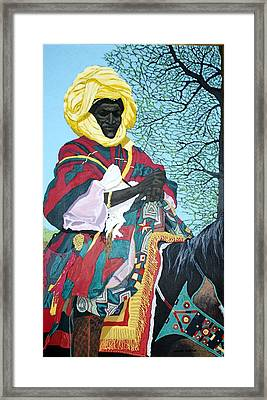 Nigerian On Horseback Framed Print by Bernard Goodman