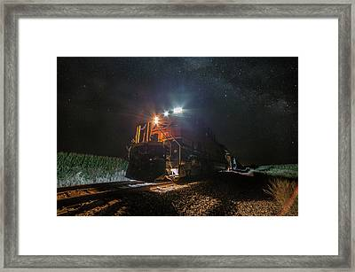 Framed Print featuring the photograph Night Train  by Aaron J Groen