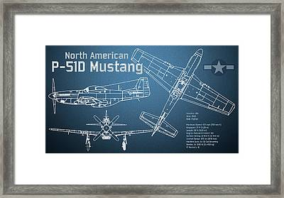 North American P-51d Mustang Blueprint Framed Print