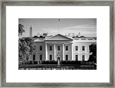 north facade from pennsylvania avenue the white house with washington monument in the background Was Framed Print