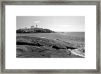 Nubble Lighthouse Framed Print by Skip Willits
