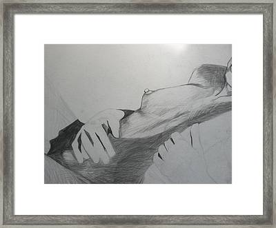 Framed Print featuring the drawing Nude Model In Studio by Carrie Maurer