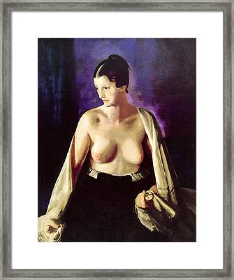 Nude With White Shawl Framed Print