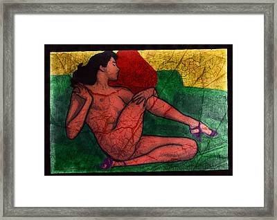 Nude Woman Framed Print by Miley Art