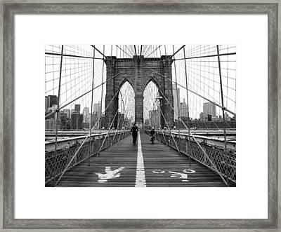 Nyc Brooklyn Bridge Framed Print by Nina Papiorek