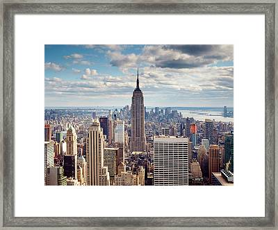 Nyc Empire Framed Print by Nina Papiorek