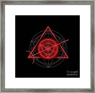 Occult Magick Symbol On Red By Pierre Blanchard Framed Print by Pierre Blanchard
