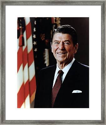 Official Portrait Of President Reagan Framed Print by Everett