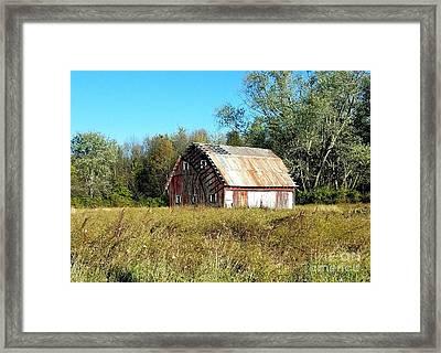 Old Barn In The Meadow Framed Print by Scott D Van Osdol