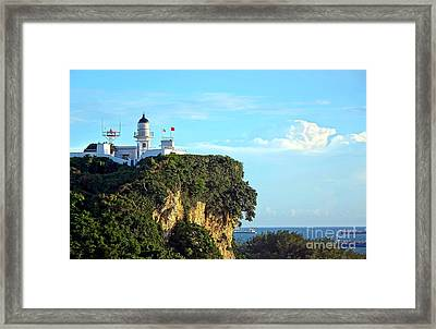 Framed Print featuring the photograph Old Lighthouse Overlooking Kaohsiung Harbor by Yali Shi