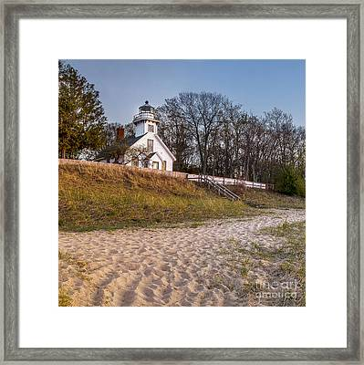 Old Mission Peninsula Lighthouse And Shore Framed Print