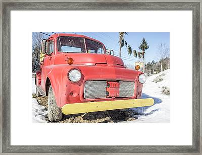 Old Red Farm Truck Framed Print by Edward Fielding