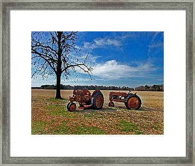 2 Old Tractors And The Tree Framed Print by Michael Thomas