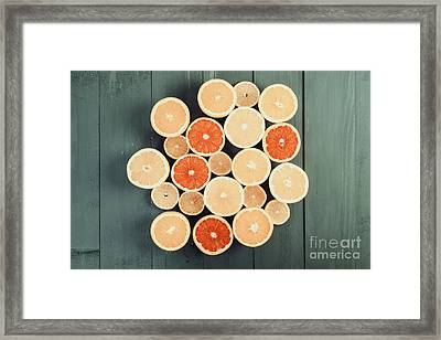 Orange, Grapefruit And Lemon Citrus Fruit Slices Framed Print by Radu Bercan