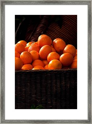oranges in basket Rome italy Framed Print by Xavier Cardell