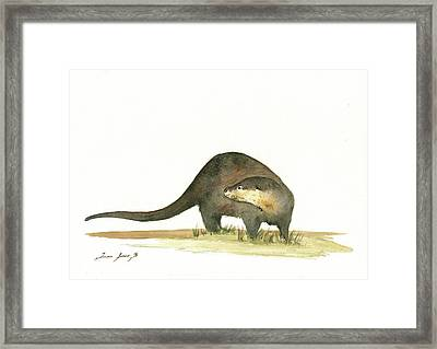 Otter Framed Print by Juan Bosco