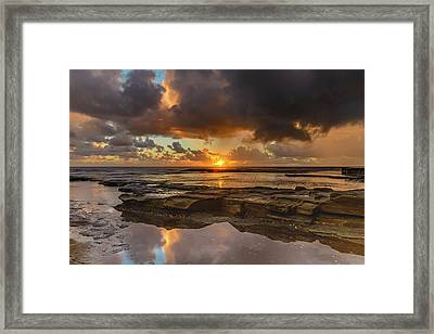 Overcast And Cloudy Sunrise Seascape Framed Print
