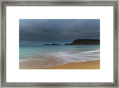 Overcast Cloudy Sunrise Seascape Framed Print