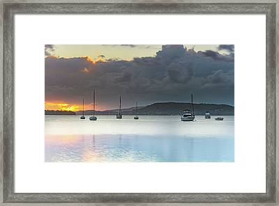 Overcast Sunrise Waterscape Framed Print