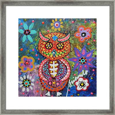 Owl Day Of The Dead Framed Print by Pristine Cartera Turkus