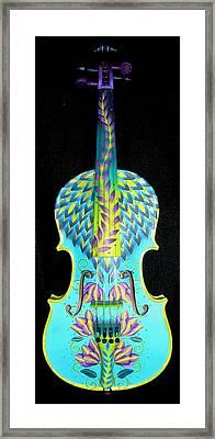 Painted Violin Framed Print by Elizabeth Elequin