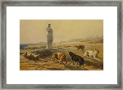 Pallas Athena And The Herdsman's Dogs Framed Print