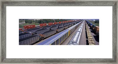 Panoramic View Of Freight Cars At Union Framed Print by Panoramic Images