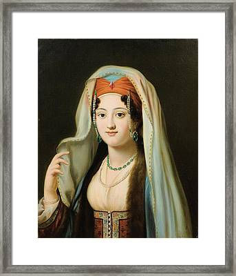 Paris Young Woman In Traditional Dress Ottoman Framed Print by MotionAge Designs